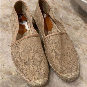 Diane VonFurstenburg sheer lace neutral shoe!